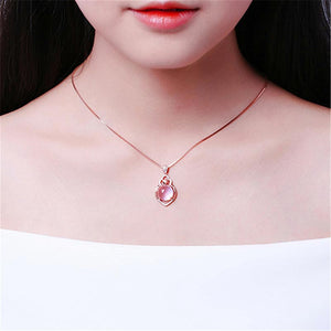 E Korean version of natural pink crystal love pendant【Cash On Delivery】 - Yinaje