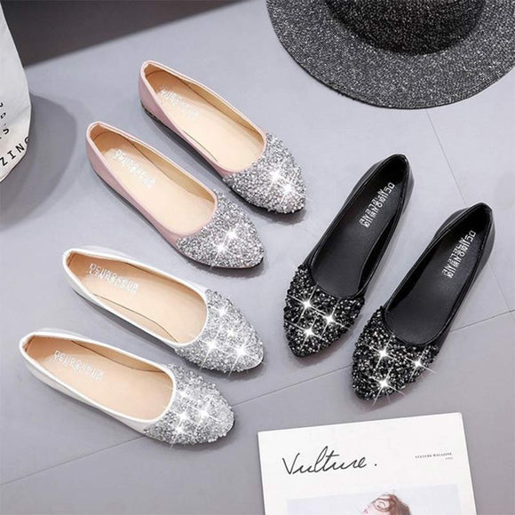 E 2018 Korean fashion point rhinestone flat shoes【Cash On Delivery】 - Yinaje