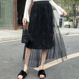 M Three-layer mesh sweet pleated fairy skirt【Cash On Delivery】 - Yinaje