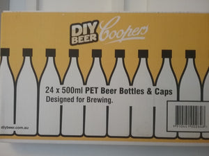 Bottles - PET - Amber - Screw Caps - 500ml (Pack of 24)