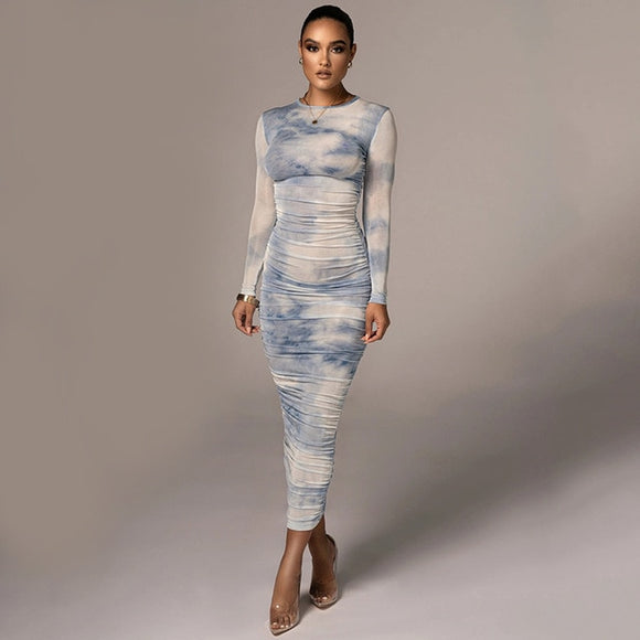 Tie Dye Print Long Sleeve  Ruched  Dress