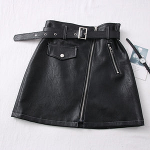 Pu Leather zipper Skirt