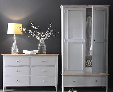 Malaga Dove Grey Painted Oak Top Bedroom Collection