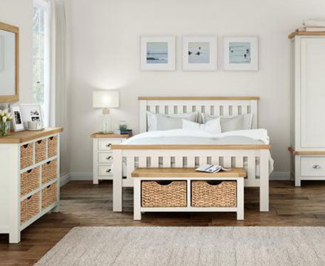 Santana Oak & Butter Milk Cream Painted Bedroom Collection
