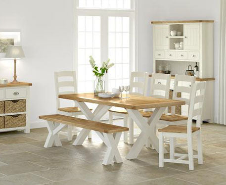Santana Oak & Butter Milk Cream Painted Dining And Occasional Collection