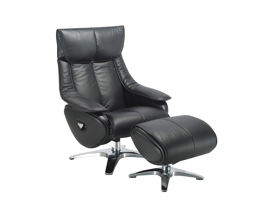 Granada Luxury Reclining Swivel Chair In Real Cowhide Black Leather