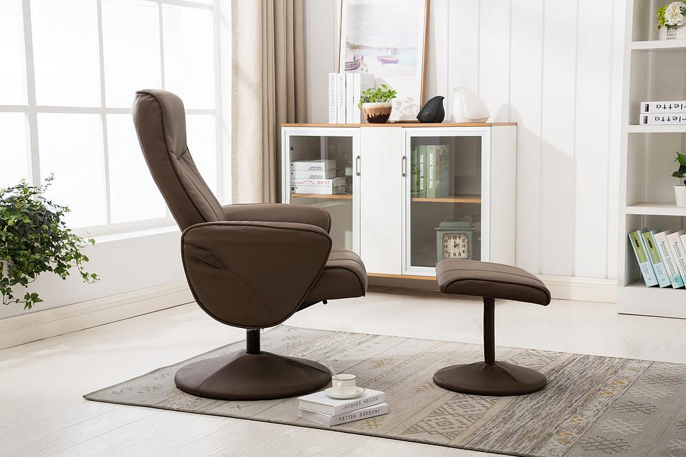 Fabulous Sierra Reclining Chair In Truffle Faux Leather Machost Co Dining Chair Design Ideas Machostcouk