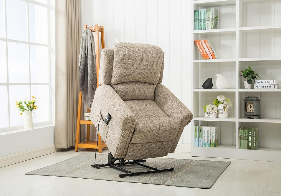 Telford Single Motor Rise & Recline Armchair In Mocha Fabric