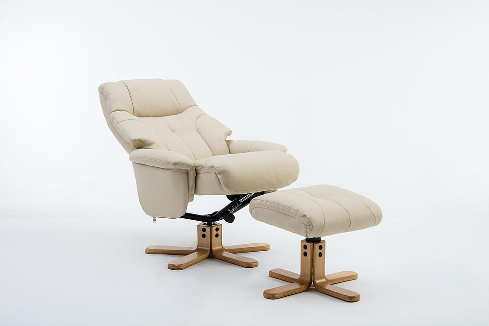 Brittany Reclining Chair In Plush Cream Leather