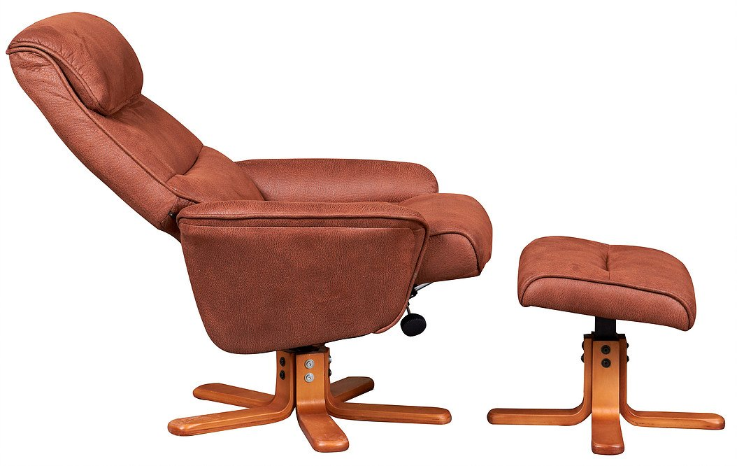 Alfie Reclining & Swivel Chair In Tan Suede