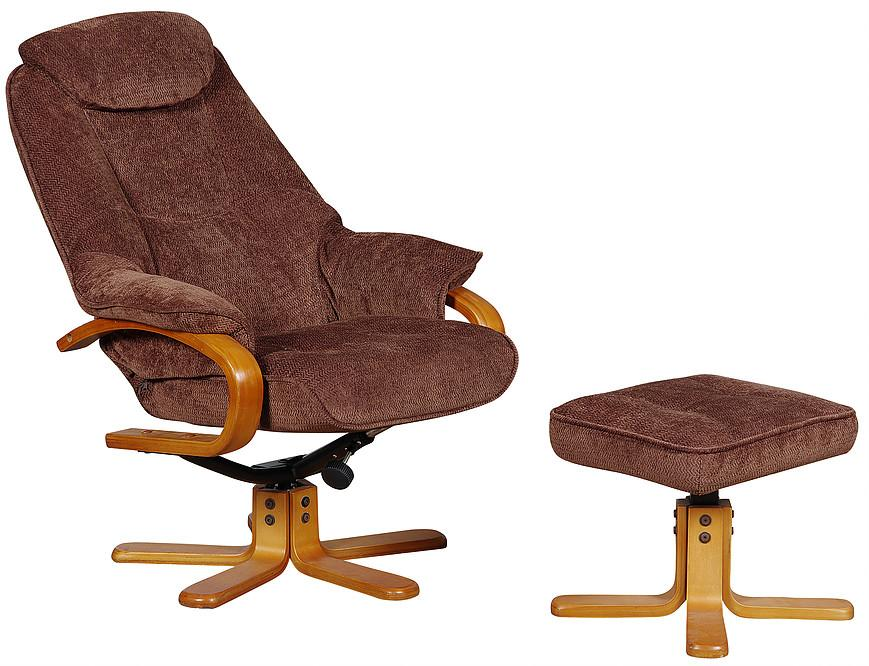 Hyatt Swivel & Reclining Chair In Chocolate Fabric