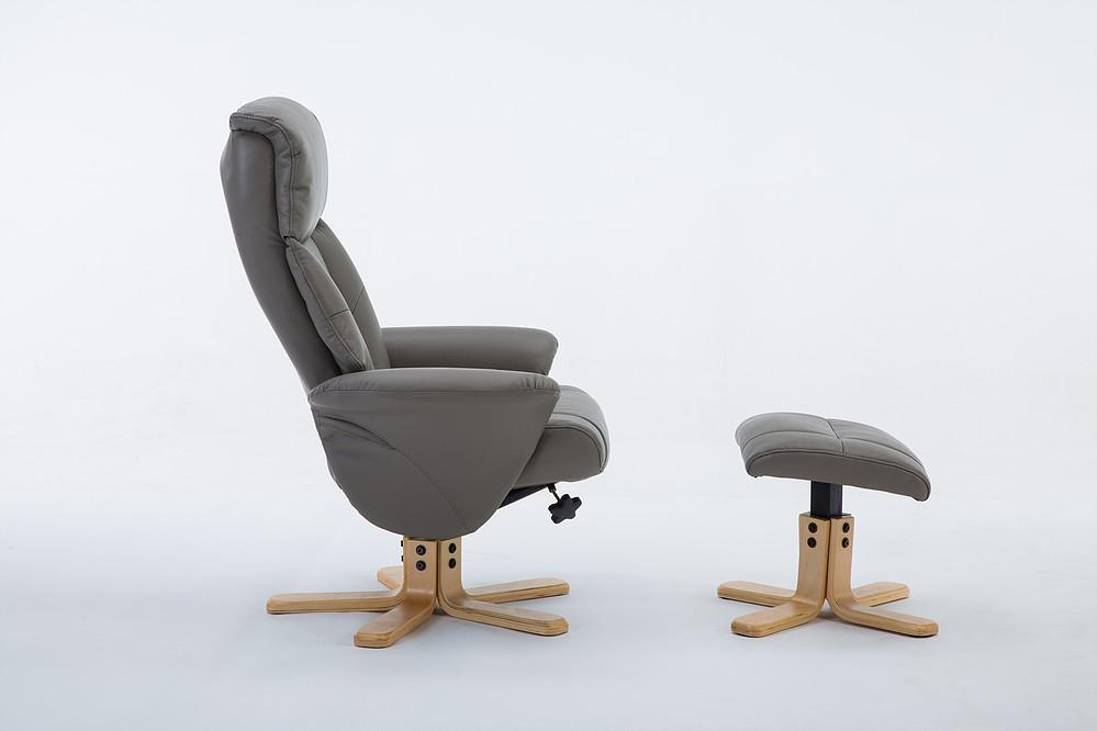 Monte Carlo Reclining Chair In Faux Grey Leather