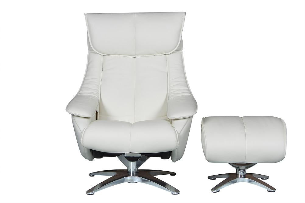 Granada Luxury Reclining Chair In Real Cowhide White Leather