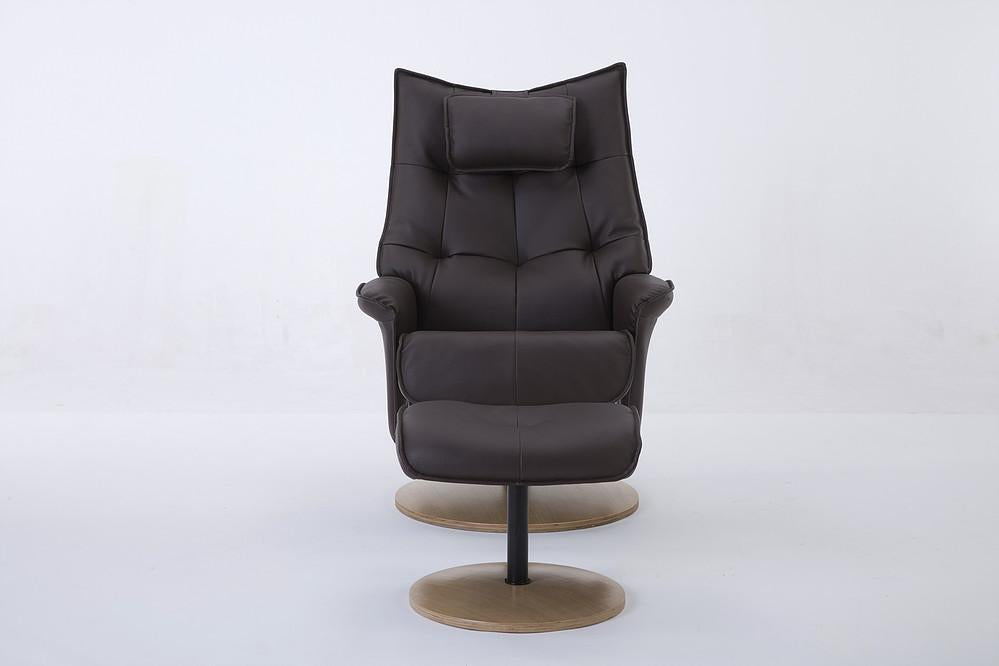 Abbey Reclining Chair In Plush Brown Faux Leather