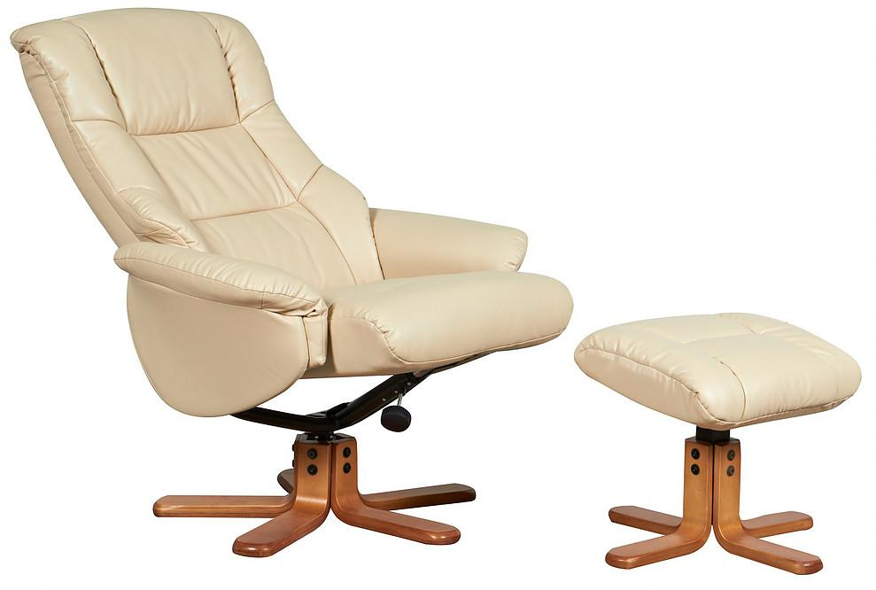 Barcelona Reclining Chair In Cream Leather