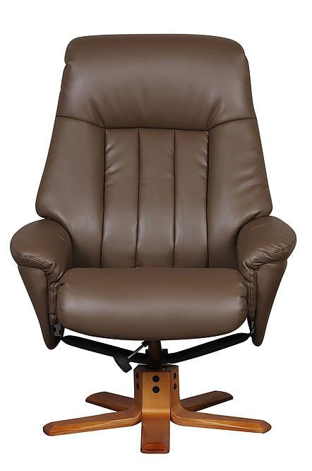 Almeria Reclining Chair In Truffle Faux Leather