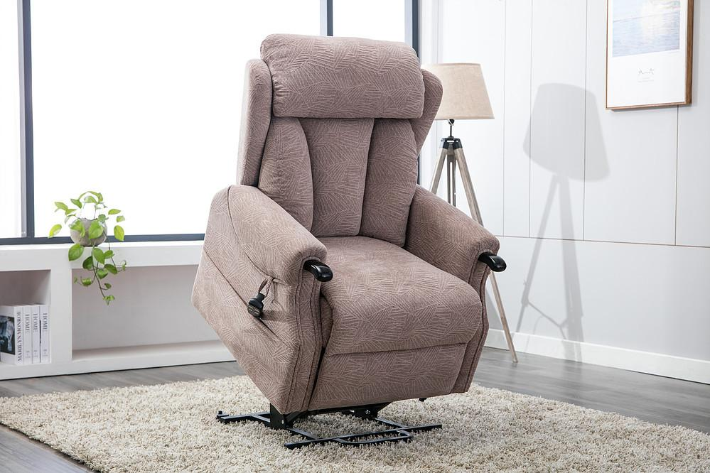 Madrid Dual Motor Rise & Recline Chair In Brushstroke Mocha