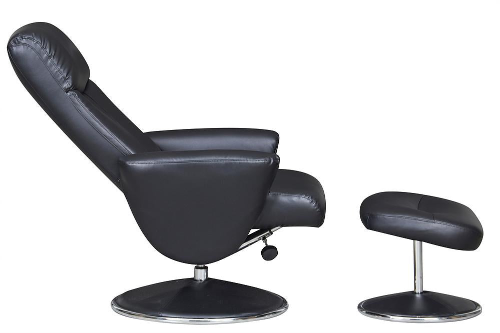 Alice Recliner In Black Faux Leather