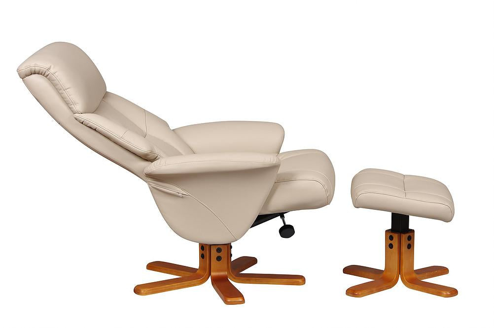Monte Carlo Reclining Chair In Faux Cafe Latte Leather