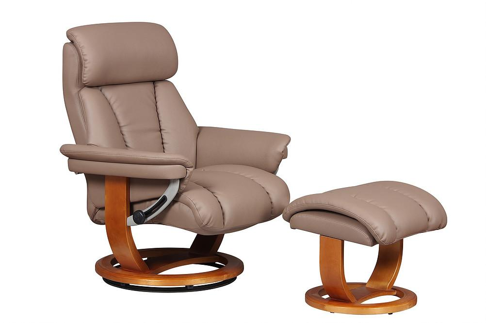 Annaise Luxury Reclining Chair In Earth PU Leather