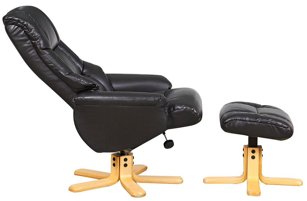 Barcelona Reclining Chair in Black Leather