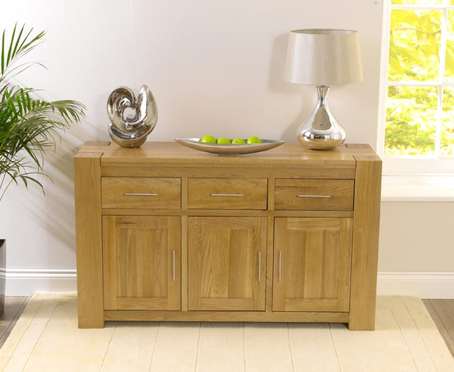 Tampa Solid Oak Sideboard - Large Wide 3 Doors 3 Drawers