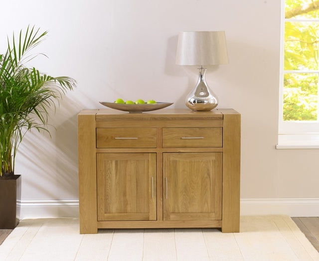 Tampa Solid Oak Sideboard - Small Narrow 2 Doors 2 Drawers