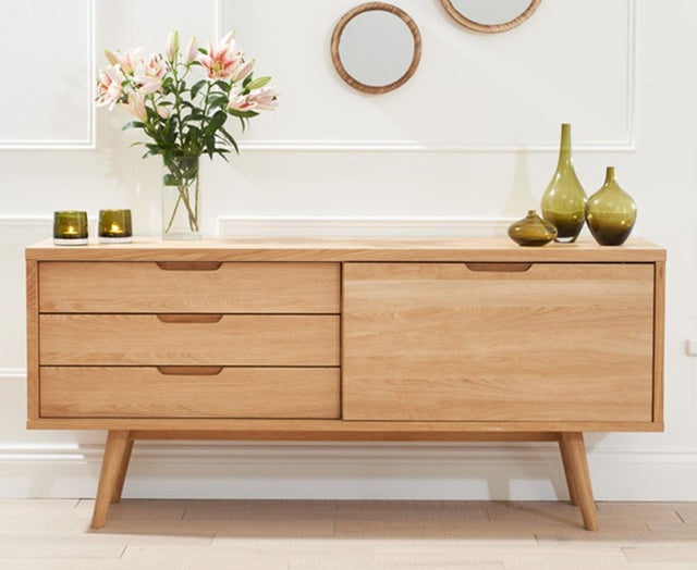 Tribeca Oak Sideboard - Large Wide 1 Door 3 Drawers