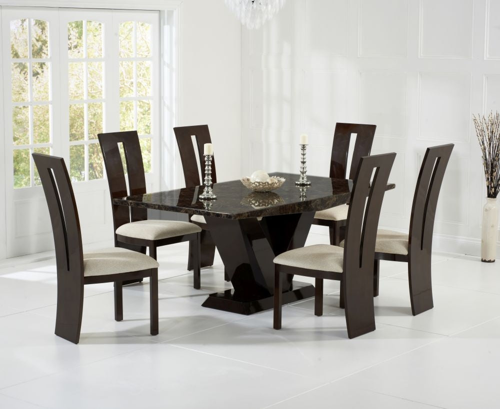 Valencie Brown Marble Dining Set - 180cm Rectangular with 4 Chairs
