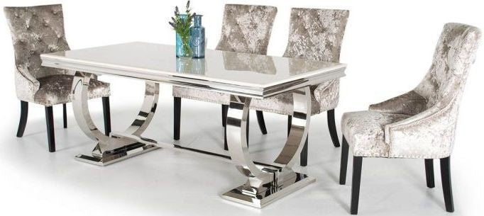 Zarianna Cream Marble Rectangular Fixed Top with Stainless Steel Base Dining Set with 6 Eden Knockerback Mink Chairs - 200cm