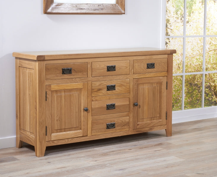 York Solid Oak Sideboard - 150cm 2 Door and 6 Drawer