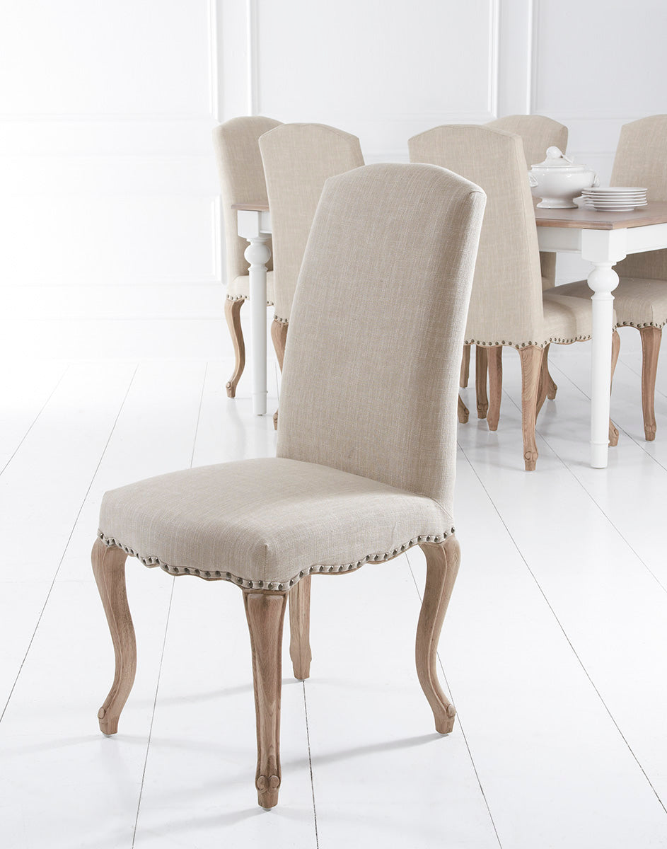 Amiens Beige Dining Chair With Studs And Carved Oak Legs