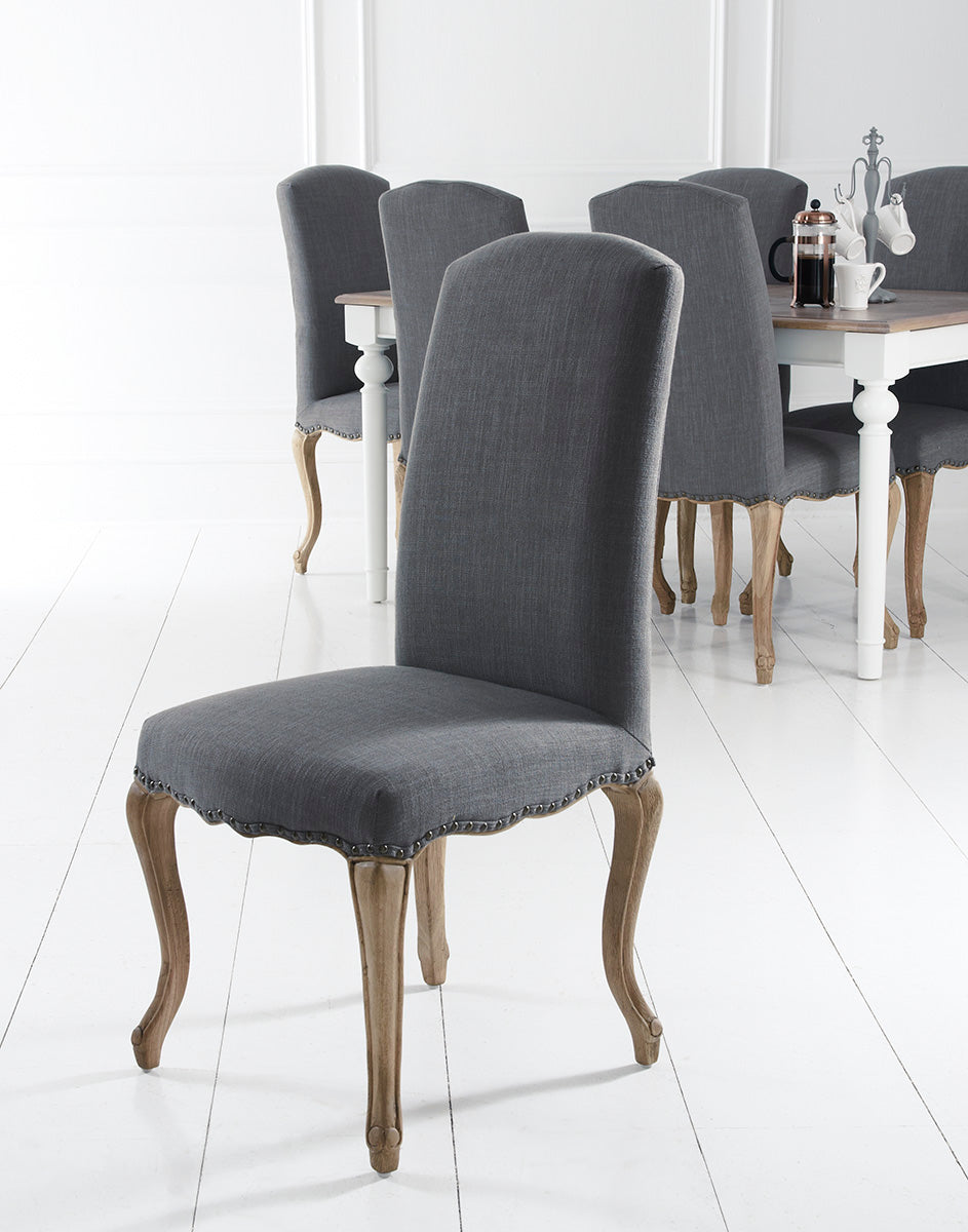 Amiens Grey Dining Chair With Studs And Carved Oak Legs