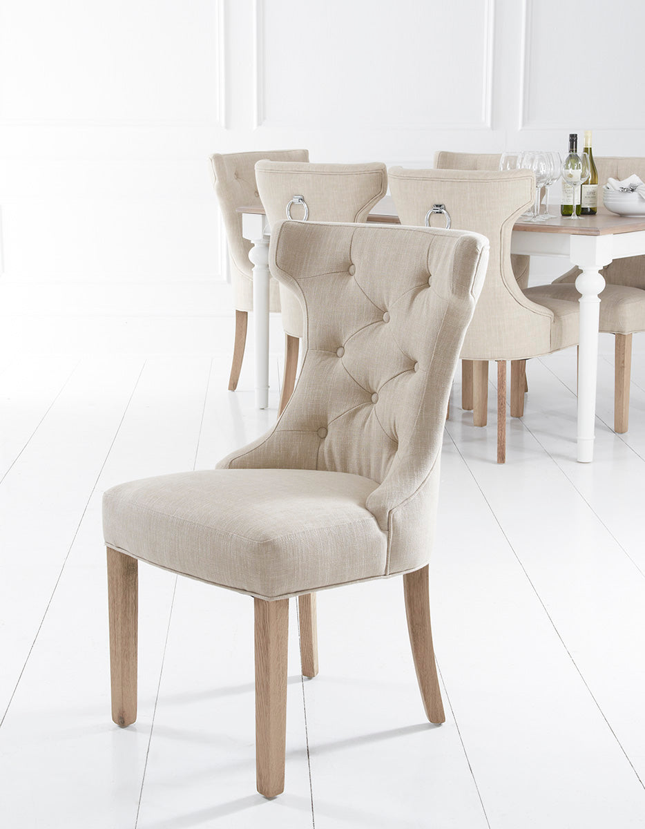 Metz Beige Button Back Dining Chair With Metal Ring