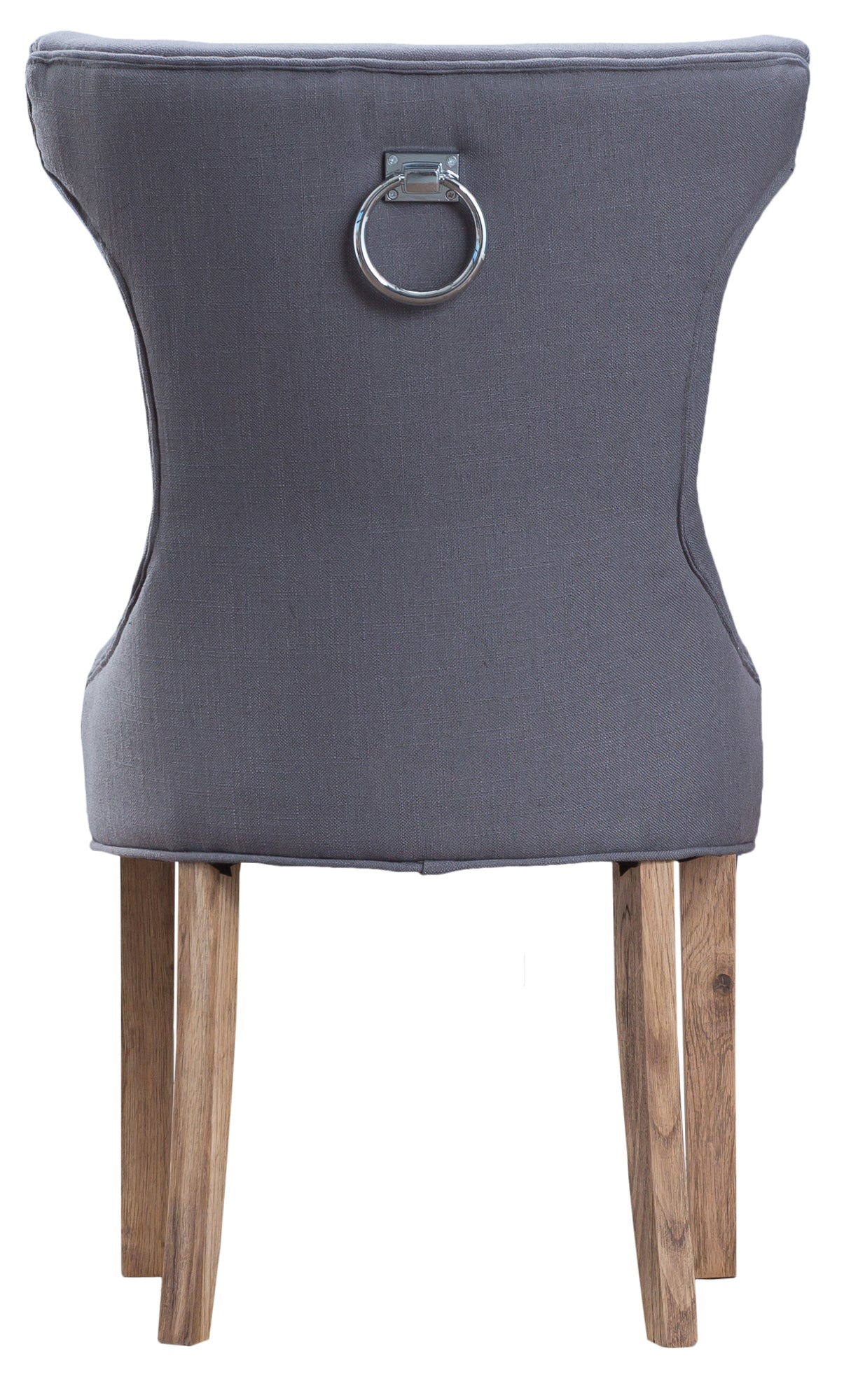 Metz Grey Button Back Dining Chair With Metal Ring