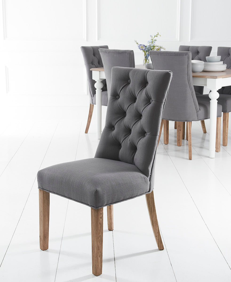 Dijon Grey Button Back Dining Chair