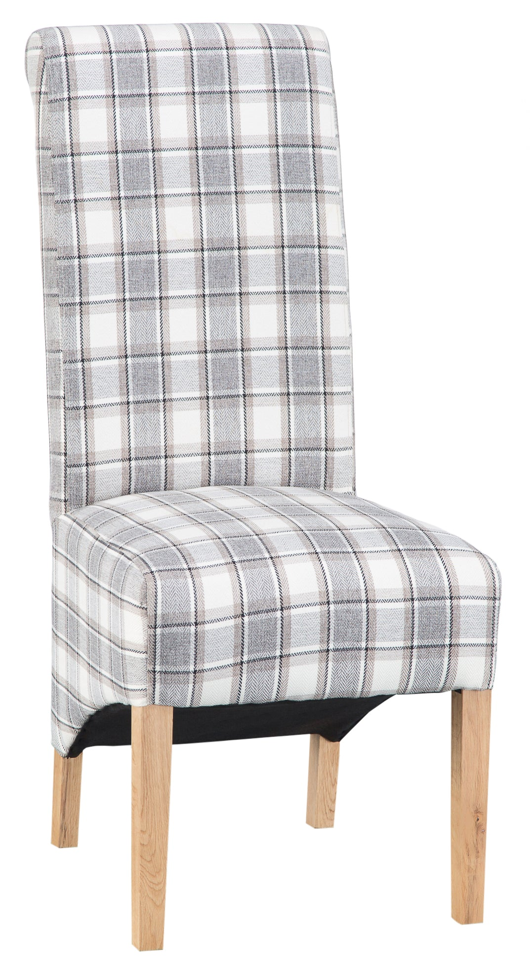 Luxury Chair Scroll Back Cappuccino Check