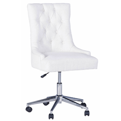 Scuttle Office Chair In White Fabric