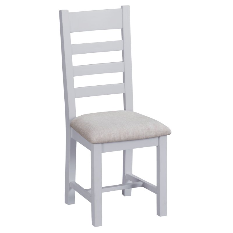 Seville Grey Ladderback Chair With Fabric Seat