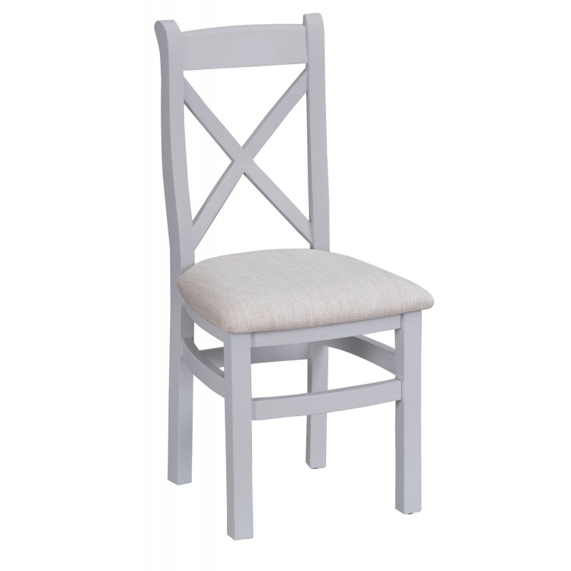 Seville Grey Crossback Chair With Fabric Seat