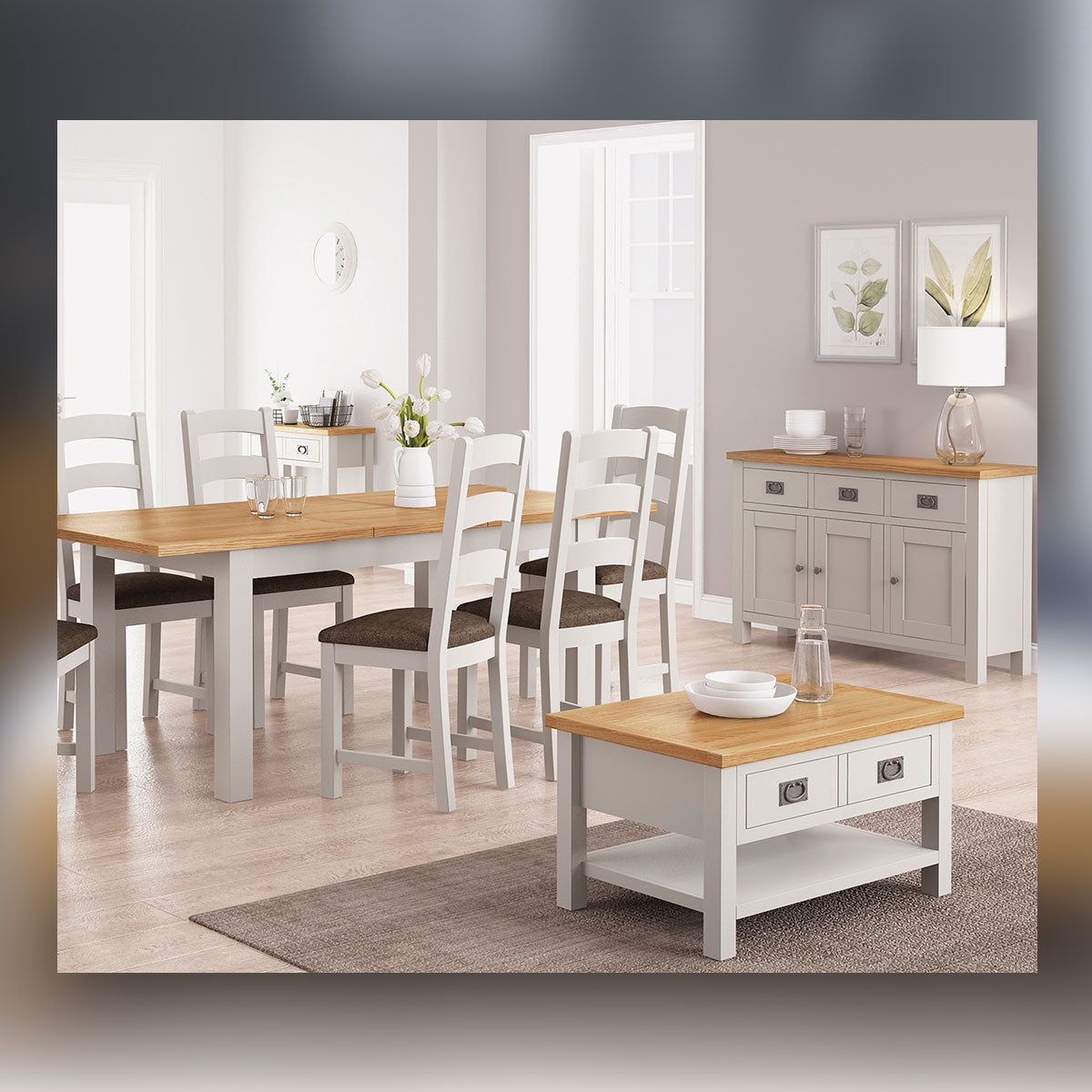 Devon Painted Oak Compact Extending Dining Table