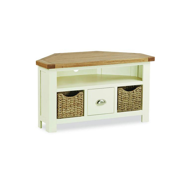 Seville Painted Off White Corner TV Cabinet With Baskets