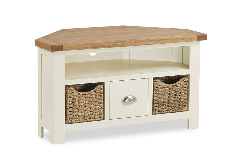 Santana Corner TV Cabinet With Baskets