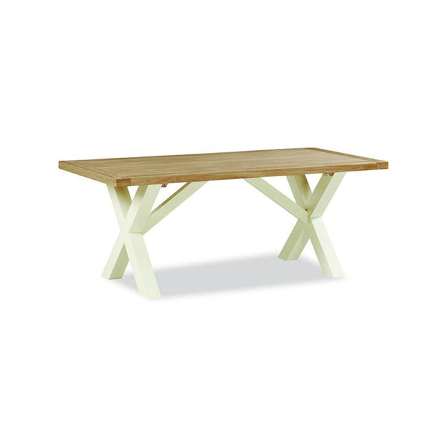 Seville Painted Off White Crossed Leg Solid Top Table