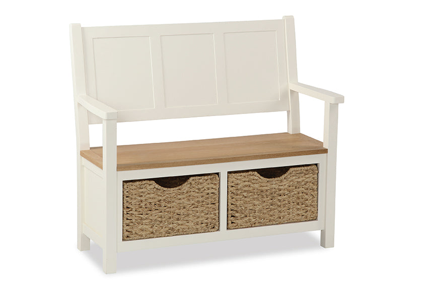 Seville Painted Off White Monks Bench With Basket