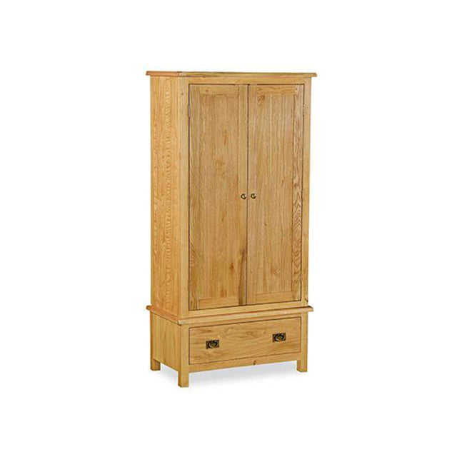 Essentials Lite Oak Double One Drw Wardrobe