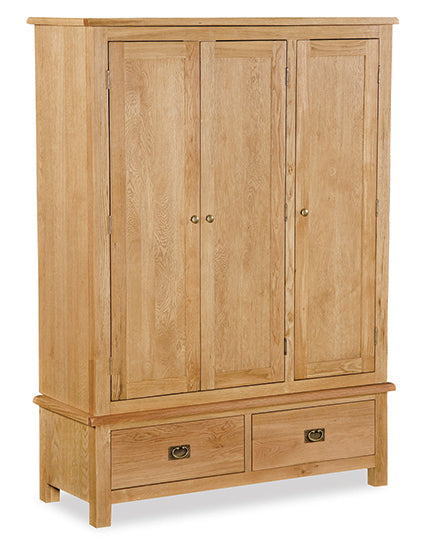 Essentials Lite Oak Triple Wardrobe