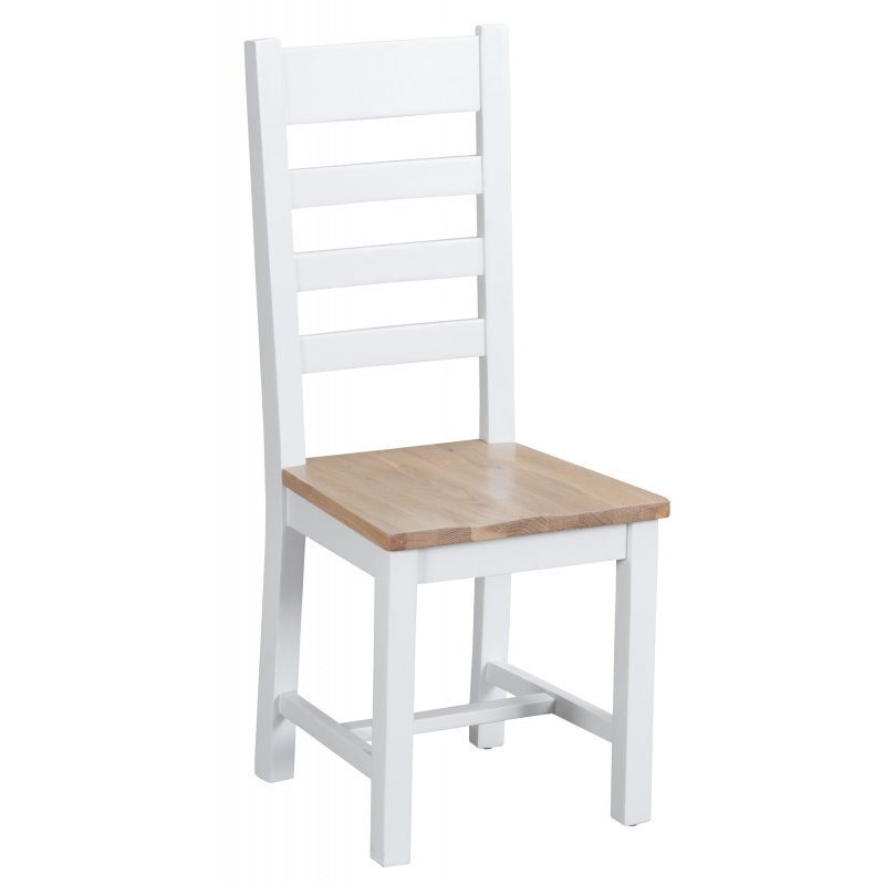 Seville White Ladderback Chair With Wooden Seat