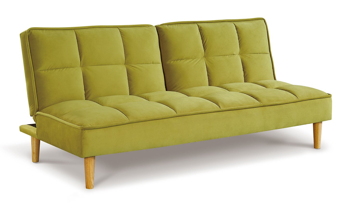 Lokken Green Velvet Sofa Bed