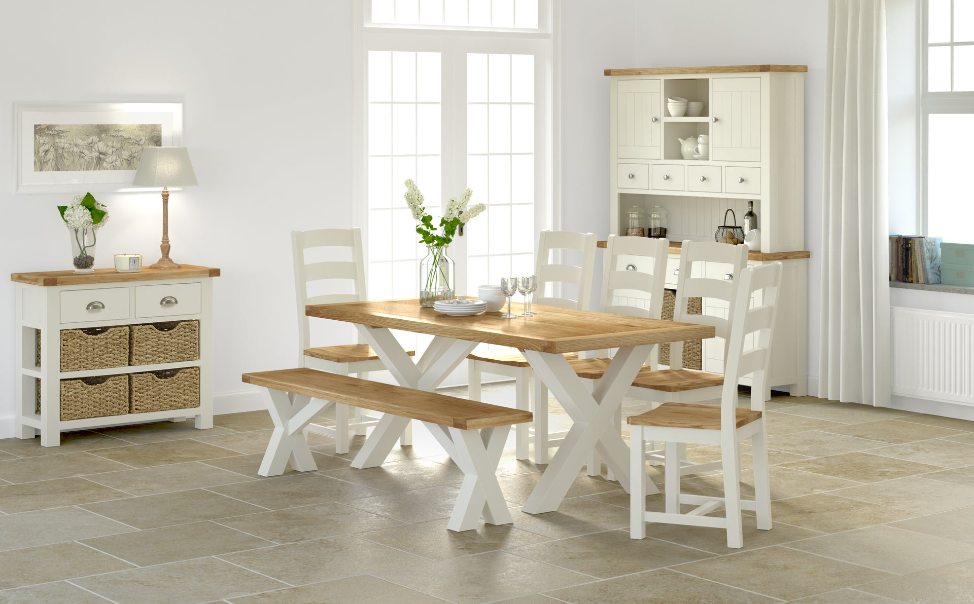 Seveille Off White Dining Chair Fabric Seat Pad